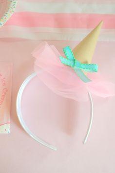 DIY Ice Cream Cone Party Hat Headbands