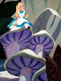 """""""Alice on Mushroom"""" by Jim Salvati - Limited Edition of 20 on Hand-Embellished Canvas, 16x12.  #Disney #AliceInWonderland #DisneyFineArt #JimSalvati"""