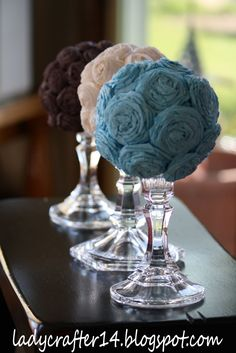 diy tissue flower balls - cheap, easy and looks great (shower or reception side tables)
