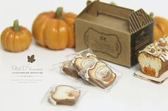 ONE Sliced Pumpkin Pound Cake wrapped with cellophane bag which handmade in 1:12 Dollhouse Miniature Food scale A hearty sliced pumpkin pound cake