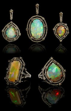 Twenty percent of the profits from this one of a kind Annoushka Ethiopian opal ring & pendant collection go to a charity called Give a Future, which benefits Ethiopian women. Opal Jewelry, Fine Jewelry, Antique Jewelry, Vintage Jewelry, Gothic Jewelry, Annoushka, My Birthstone, Chandelier Earrings, Gold Earrings
