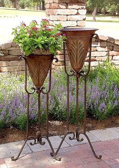 Set of 2 Matching Acanthus Iron Plant Stands Indoor Outdoor Accent Decor