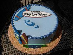 Surfin' Cool Blue Beach Shower Cake.