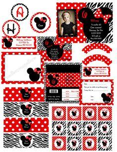 minnie mouse party supplies red and black | Imprimibles de Minnie Mouse en fondo rojo con lunares blancos y en ...