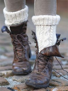 Free knitting Pattern - cable socks from Rowan Knitting. Need to find those boots too… Rowan Knitting, Knitting Socks, Free Knitting, Knitting Patterns, Leather Boots, Brown Leather, Fashion Business, Boot Socks, Boot Cuffs
