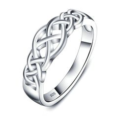 925 Sterling Silver Ring, Women's Wedding Bands Celtic Knot Eternity Band Ring Engagement Size 6 Epinki