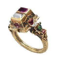 Rothschild Diamond, Ruby, and Enamel Gimmel Ring with Memento Mori c. 1631