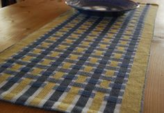 Handwoven Table Runner Yellow and Blue Woven by HandwovenHome