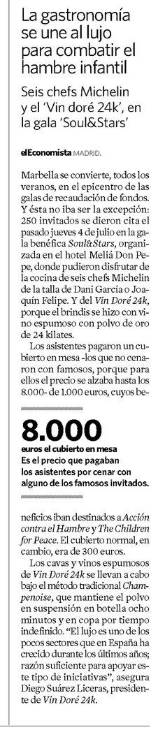 El Periódico El Economista recomienda Vin Doré 24K, que lucha contra el hambre infantil junto a 6 prestigiosos Chefs Estrellas Michelín