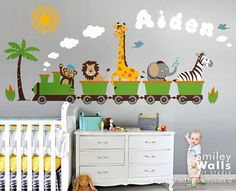 Personalized Safari Train Wall Decal Jungle Animals Train Wall