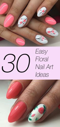 30 easy ways to slay floral nail art Spring is coming, and easy floral nail art ideas are on your mind. Here are 30 stunning, easy to recreate floral nail art ideas that will have you floating on cloud 9 IMMEDIATELY. Flower Nail Designs, Nail Designs Spring, Nail Art Designs, Nails Design, Dotting Tool Designs, Nail Art Ideas, Pretty Nail Designs, Salon Design, Nail Art Hacks