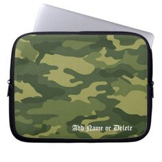Military Camo Pattern with Name Computer Sleeve