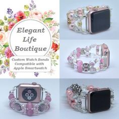 Handmade Women's Beaded Bracelet Watch Bands Compatible for Apple Smartwatch (38mm & 42mm) - made in the USA by www.elegantlifeboutique.com Please visit my website, Etsy shop or my new eBay store @ElegantLifeBoutique