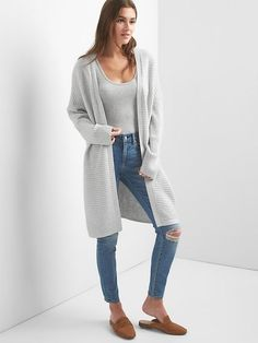 Gap Womens Ribbed Open Front Cardigan Light Heather Grey