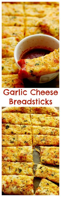This Homemade Garlic Cheese Breadsticks Recipe will put your local pizzeria's to. - This Homemade Garlic Cheese Breadsticks Recipe will put your local pizzeria's to shame! I Love Food, Good Food, Yummy Food, Appetizer Recipes, Dinner Recipes, Appetizers, Appetizer Ideas, Comida Diy, Fingers Food