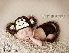 Monkey Hat and Diaper Cover Set Pattern  6 Sizes by MelodysMakings, $4.25