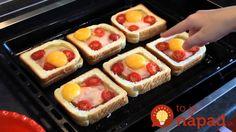 Vynikajúca pochúťka na raňajky, ktorú vyčarujete z obyčajného toastového chlebíka a obľúbených ingrediencií. Výsledkom je skvelé jedlo, ktoré vynikajúco vyzerá a ešte lepšie chutí! Sweet And Salty, Waffles, Chicken Recipes, Toast, Food And Drink, Lunch, Cooking, Breakfast, Health