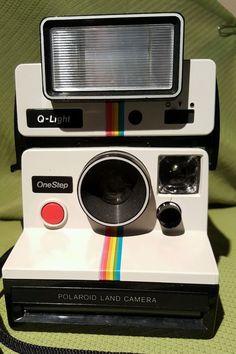 Vintage Polaroid SX-70 OneStep White Rainbow Stripe Land Camera Q Light Untested #Polaroid