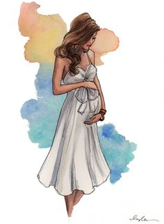 New York City based artist Inslee Fariss creates watercolor illustrations for weddings, events, brands and fine art commissions Fashion Sketches, Art Sketches, Art Drawings, Arte Fashion, Fashion Design, Baby Poster, Bump Painting, Illustration Manga, Illustration Fashion