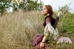 """""""Archeress"""" flax linen medieval garb: dress, chemise and corset bodice set for sale :: by medieval store ArmStreet"""