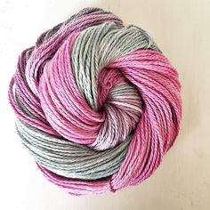 This is still one of my favourite combinations grey and pink and on this silk merino blend base it literally shines. It's perfect for wearing close to the skin too as its just so soft but absolutely no tickle factor silk is smooth and strong and needs to be squished to be believed. Just a few skeins of this left now it's always a bestseller.