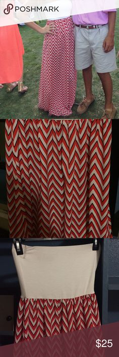 Sis Sis strapless maxi dress Flattering strapless Maxi dress. Material: sheer on bottom soft cotton like material on top. Bought at a boutique in downtown Austin. Perfect for game days. Modeled on 5'7, 36B, 125 lb girl in first picture. Sis Sis Dresses Maxi
