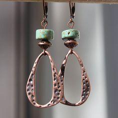 Textured Copper Earrings  Turquoise earrings  by LeBouiBouiaBouBou, $16.00