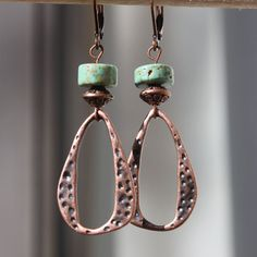 Textured Copper Earrings Turquoise earrings