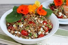 A whole-grain, nutty flavored salad with tomatoes, feta cheese and the spiciness of edible nasturtium blossoms. Toasted Farro Salad with Nasturtium Flowers