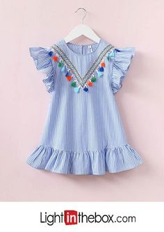 95395f1701f4 baby girl's striped dress, polyester summer sleeveless blue Cute Baby Girl  Outfits, Toddler Girl