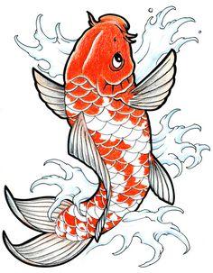 kohaku by DookiePants on DeviantArt Pez Koi Tattoo, Coy Fish Tattoos, Koi Tattoo Sleeve, Chest Tattoo Japanese, Japanese Fish Tattoo, Japanese Art, Koi Fish Drawing, Fish Drawings, Art Drawings