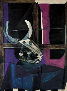 Still life with skull of ox, 1942 - Pablo Picasso - WikiPaintings.org
