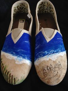 Beach ocean Themed Hand painted shoes by MonkeymouDesigns on Etsy