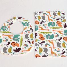 Organic Baby Bib and Burp Cloth Set SAFARI by MackandMabelOrganics, £11.50