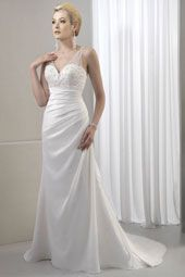 Venus wedding dress/gown- white sheath style wedding dress, strapless with sweetheart neckline and illusion shoulders. For the Bride Boutique Ft. Myers, Florida