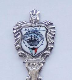 Collector Souvenir Spoon Kuwait Coat of Arms Porcelain Emblem