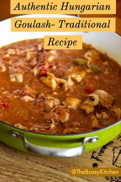 This Authentic Hungarian Goulash- is a traditional beef stew cooked with lots of onions, Hungarian paprika, tomatoes and sweet peppers. Pork Goulash, Pork Stew, Goulash Soup Recipes, Hungarian Cuisine, Hungarian Recipes, Hungarian Food, Meat Recipes, Cooker Recipes, Hungarian Paprika