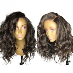 Luffy Density Glueless Front Lace Human Hair Wigs With Baby Hair Wavy Peruvian Non-remy Hair Pre Plucked Natural Hairline - Get Wigs And Human Hair Extensions At Wholesale Prices Short Hair Wigs, Human Hair Lace Wigs, Cheap Human Hair, 100 Human Hair, Frontal Hairstyles, Wig Hairstyles, Stylish Short Hair, Short Wavy, Short Cuts