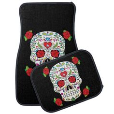 Mexican Tattoo Sugar Skull and Red Roses Custom Printed Floor Mat Set For Your Automobile. - Great floor mats for anyone who loves sugar skulls!