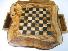 chess natural olive wood  chess board by wodenCraftGift on Etsy, €40.00