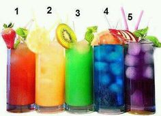 Colorful non alcohol drinks