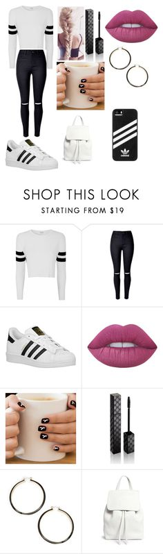 """school outfit"" by daniellem618 on Polyvore featuring Glamorous, WithChic, adidas Originals, Lime Crime, Gucci, Trina Turk, Mansur Gavriel and adidas"