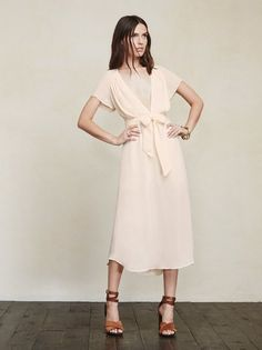 We like to make you pretty things. The Thalia Dress is a georgette midi dress with a plunging V neckline that has a hook/eye closure - so you can wear it down to there or close it up a bit and wear a bra. https://www.thereformation.com/products/thalia-dress-cream?utm_source=pinterest&utm_medium=organic&utm_campaign=PinterestOwnedPins