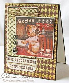 Scraps of Life: Crafty Secrets Fun guy birthday card by GloriaScraps Blog using an image from Crafty Secrets Wacky Animal Scraps on sale for .99 cents