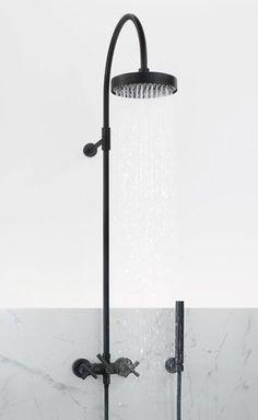 Black shower & marble