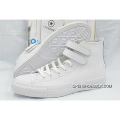 fc9fde474c958c Full White High Tops Converse Double Velcro Leather CT All Star Shoes  Discount