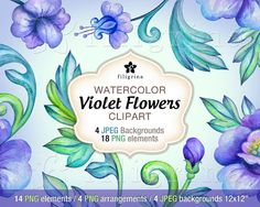 Violet Flowers WATERCOLOR CLIPART. Digital scrapbook by Filigrina