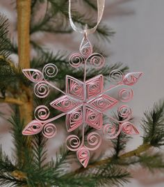 Paper Quilled Light Pink and Silver - Quilled Snowflake Ornament. via Etsy.