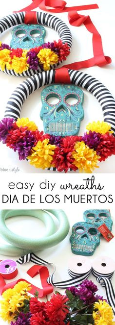 These colorful DIY Dia de los Muertos wreaths are an easy craft project. The wood skull masks and colorful flowers are iconic of Day of the Dead, and the black and white stripes add a modern touch.