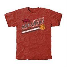 Arkansas Razorbacks Retro Strips Tri-Blend T-Shirt-Crimson